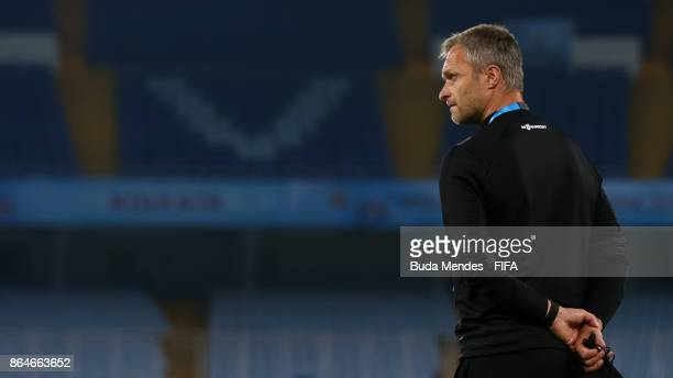 Head coach Christian Wueck of Germany looks on during the visit of the stadium a day before the FIFA U17 World Cup India 2017 Quarter Final match...