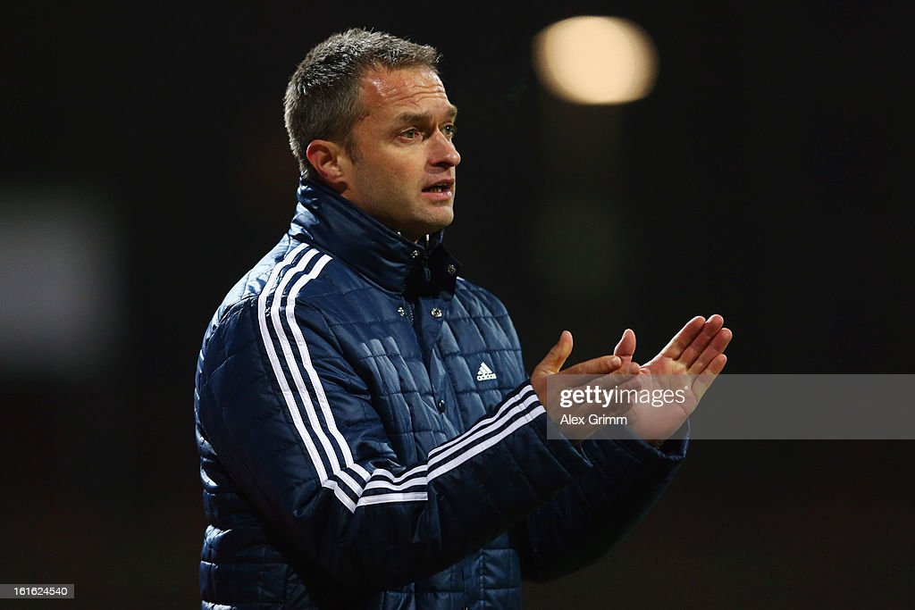 Head coach Christian Wueck of Germany reacts during the U16 international friendly match between Germany and England at Suedstadion on February 13, 2013 in Cologne, Germany.
