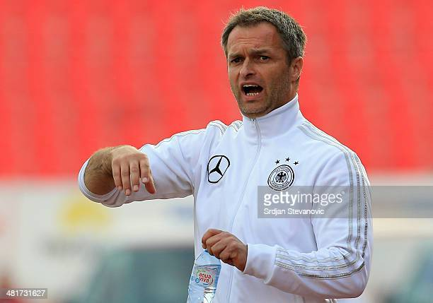 Head coach Christian Wueck of Germany reacts during the UEFA Under17 Elite Round between Serbia and Germany at Stadion Karadjordje on March 31 2014...