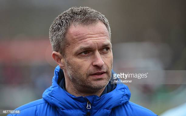 Head Coach Christian Wueck of Germany shows up during the UEFA Under17 Elite Round match between U17 Italy and U17 Germany on March 26 2015 in...