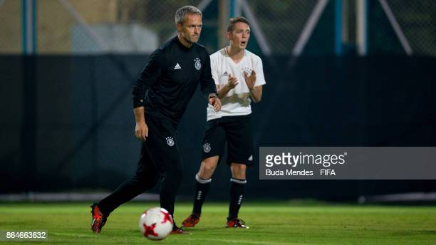 Head coach Christian Wueck of Germany takes part a day before the FIFA U17 World Cup India 2017 Quarter Final match between Germany and Brazil at...