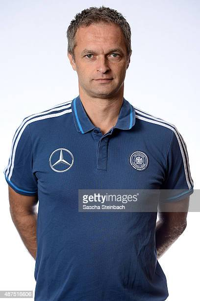 Head coach Christian Wueck poses during the Germany U16 team presentation on September 10 2015 in Waterloo Belgium