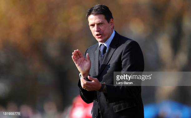 Head coach Christian Ziege of Germany reacts during the U18 international friendly match between Germany and Italy at Apollinaris stadium on November...