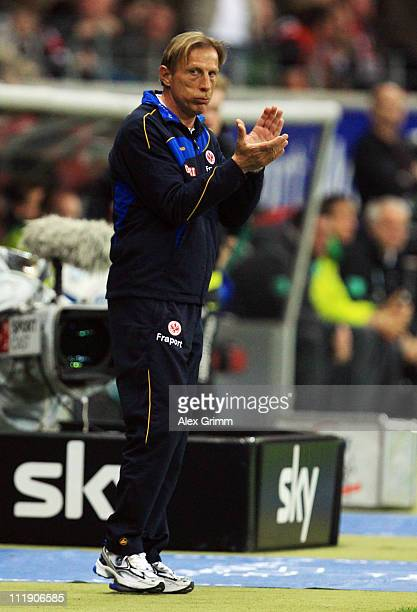 Head coach Christoph Daum of Frankfurt applauds during the Bundesliga match between Eintracht Frankfurt and SV Werder Bremen at Commerzbank Arena on...