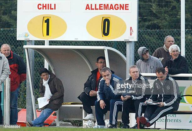 Head Coach Chritian Wuck of Germany is dispointed during the International Friendly match between U16 Germany and U16 Chile on March 26 2013 in La...