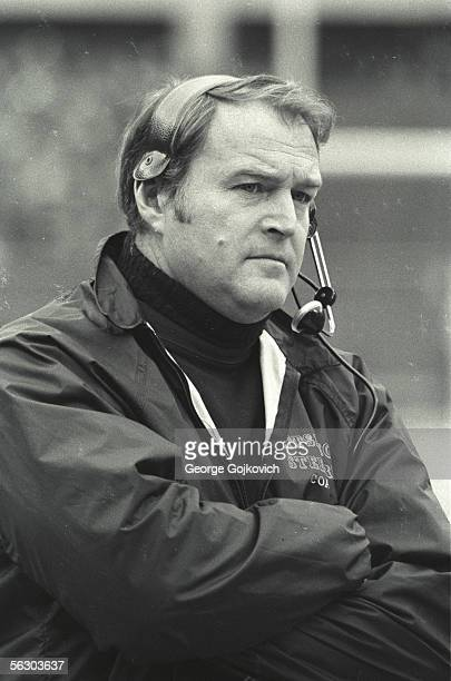 Head coach Chuck Noll of the Pittsburgh Steelers on the sideline during a game at Three Rivers Stadium circa 1973 in Pittsburgh Pennsylvania
