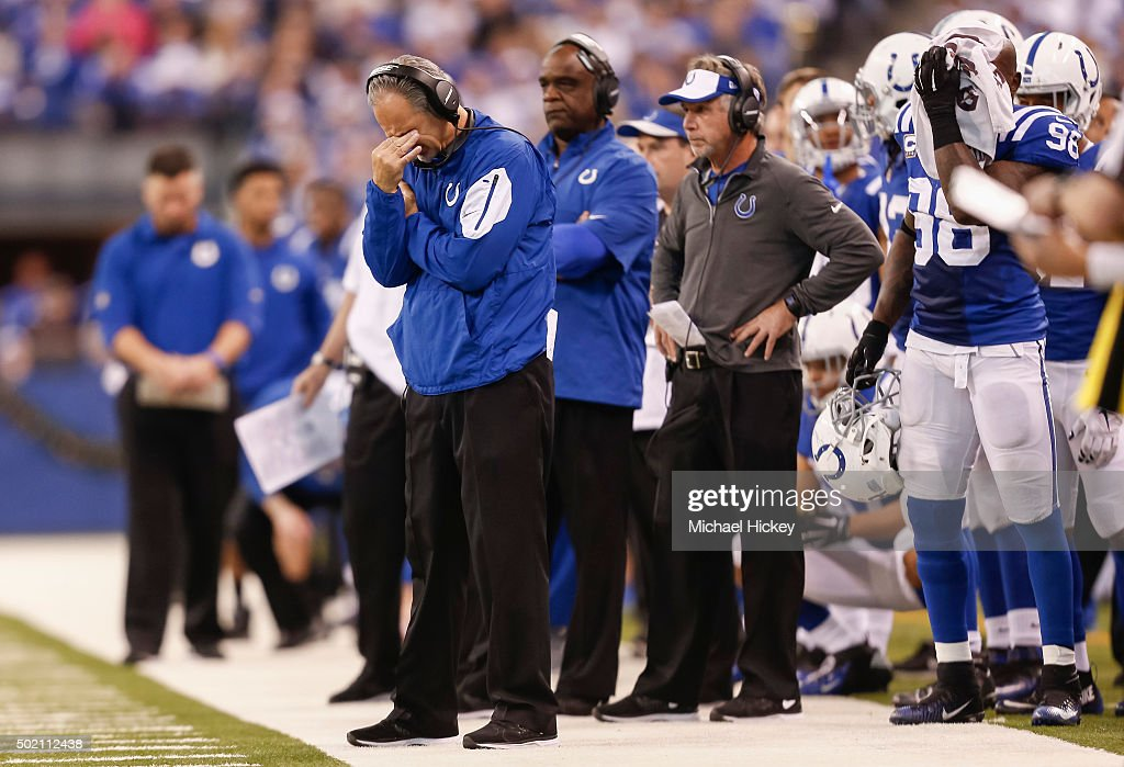 Head coach <a gi-track='captionPersonalityLinkClicked' href=/galleries/search?phrase=Chuck+Pagano&family=editorial&specificpeople=748923 ng-click='$event.stopPropagation()'>Chuck Pagano</a> and members of the Indianapolis Colts react on the sidelines late in the game against the Houston Texans at Lucas Oil Stadium on December 20, 2015 in Indianapolis, Indiana.
