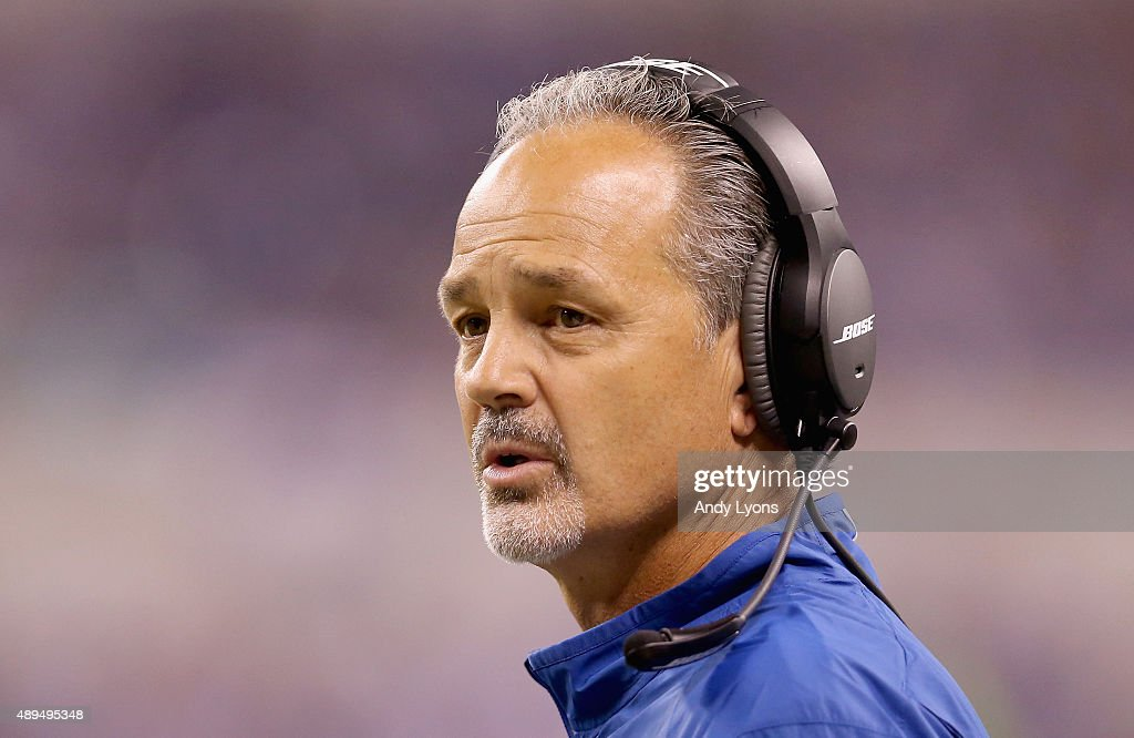 Head Coach <a gi-track='captionPersonalityLinkClicked' href=/galleries/search?phrase=Chuck+Pagano&family=editorial&specificpeople=748923 ng-click='$event.stopPropagation()'>Chuck Pagano</a> looks on during the game of Indianapolis Colts during the game against the New York Jets at Lucas Oil Stadium on September 21, 2015 in Indianapolis, Indiana.
