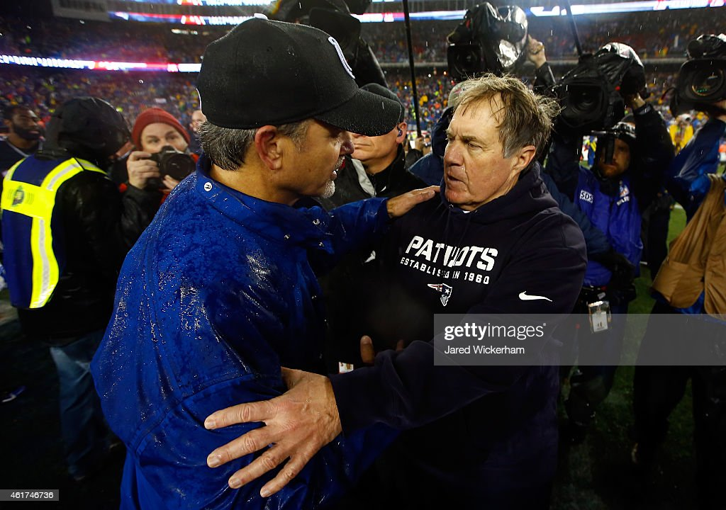 Head coach <a gi-track='captionPersonalityLinkClicked' href=/galleries/search?phrase=Chuck+Pagano&family=editorial&specificpeople=748923 ng-click='$event.stopPropagation()'>Chuck Pagano</a> of the Indianapolis Colts and head coach <a gi-track='captionPersonalityLinkClicked' href=/galleries/search?phrase=Bill+Belichick&family=editorial&specificpeople=201822 ng-click='$event.stopPropagation()'>Bill Belichick</a> of the New England Patriots shake hands after the 2015 AFC Championship Game at Gillette Stadium on January 18, 2015 in Foxboro, Massachusetts. The Patriots defeated the Colts 45-7.