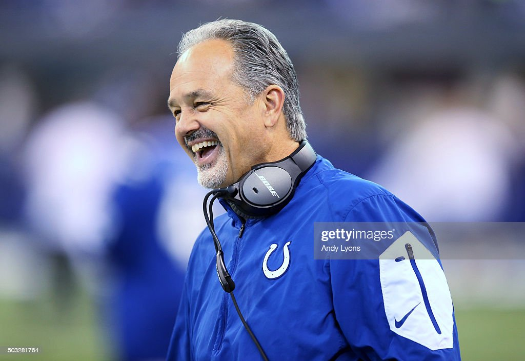 Head coach <a gi-track='captionPersonalityLinkClicked' href=/galleries/search?phrase=Chuck+Pagano&family=editorial&specificpeople=748923 ng-click='$event.stopPropagation()'>Chuck Pagano</a> of the Indianapolis Colts laughs during the game against the Tennessee Titans at Lucas Oil Stadium on January 3, 2016 in Indianapolis, Indiana.