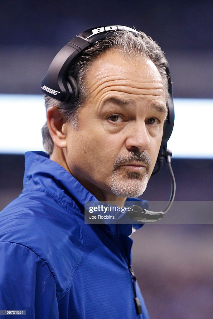 Head coach <a gi-track='captionPersonalityLinkClicked' href=/galleries/search?phrase=Chuck+Pagano&family=editorial&specificpeople=748923 ng-click='$event.stopPropagation()'>Chuck Pagano</a> of the Indianapolis Colts looks on during the first half of the game against the Washington Redskins at Lucas Oil Stadium on November 30, 2014 in Indianapolis, Indiana.