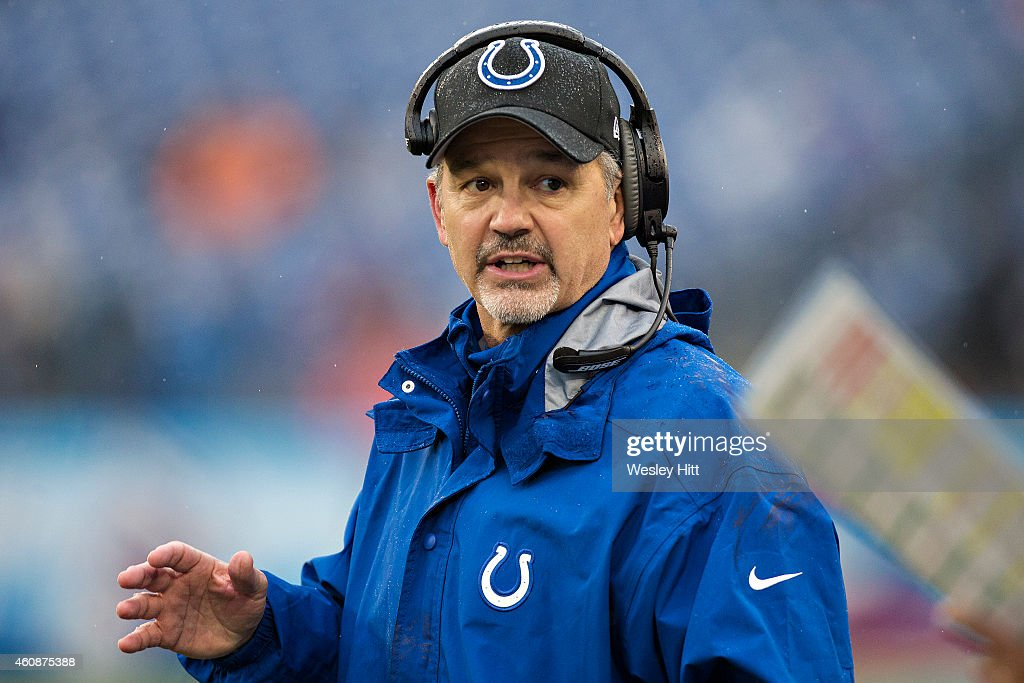 Head Coach <a gi-track='captionPersonalityLinkClicked' href=/galleries/search?phrase=Chuck+Pagano&family=editorial&specificpeople=748923 ng-click='$event.stopPropagation()'>Chuck Pagano</a> of the Indianapolis Colts on the sidelines during a game against the Tennessee Titans at LP Field on December 28, 2014 in Nashville, Tennessee. The Colts defeated the Titans 27-10.