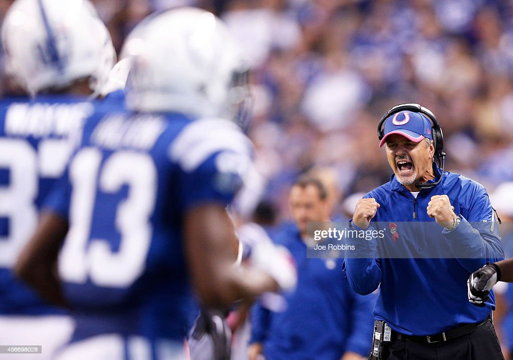 Head coach <a gi-track='captionPersonalityLinkClicked' href=/galleries/search?phrase=Chuck+Pagano&family=editorial&specificpeople=748923 ng-click='$event.stopPropagation()'>Chuck Pagano</a> of the Indianapolis Colts reacts after a touchdown run by Andrew Luck in the fourth quarter of the game against the Baltimore Ravens at Lucas Oil Stadium on October 5, 2014 in Indianapolis, Indiana. The Colts defeated the Ravens 20-13.