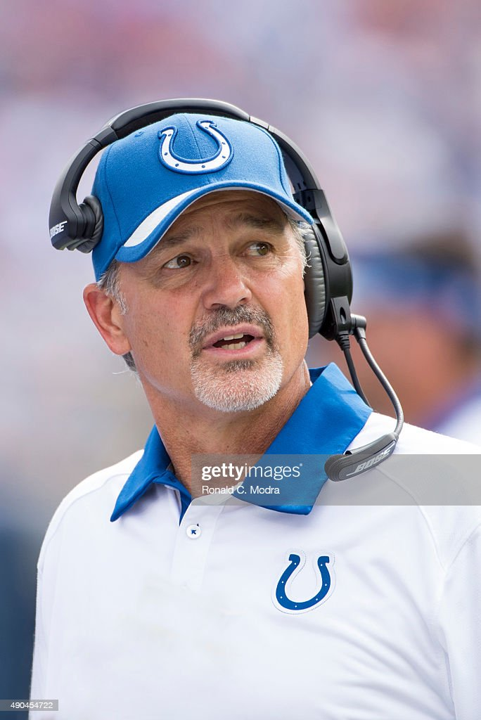 Head coach <a gi-track='captionPersonalityLinkClicked' href=/galleries/search?phrase=Chuck+Pagano&family=editorial&specificpeople=748923 ng-click='$event.stopPropagation()'>Chuck Pagano</a> of the Indianapolis Colts reacts during a NFL game against the Tennessee Titans at Nissan Stadium on September 27, 2015 in Nashville, Tennessee.