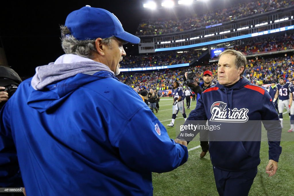Head coach <a gi-track='captionPersonalityLinkClicked' href=/galleries/search?phrase=Chuck+Pagano&family=editorial&specificpeople=748923 ng-click='$event.stopPropagation()'>Chuck Pagano</a> of the Indianapolis Colts shakes hands with head coach Bill Belichick of the New England Patriots after their AFC Divisional Playoff game at Gillette Stadium on January 11, 2014 in Foxboro, Massachusetts. The New England Patriots defeated the Indianapolis Colts 43 to 22.