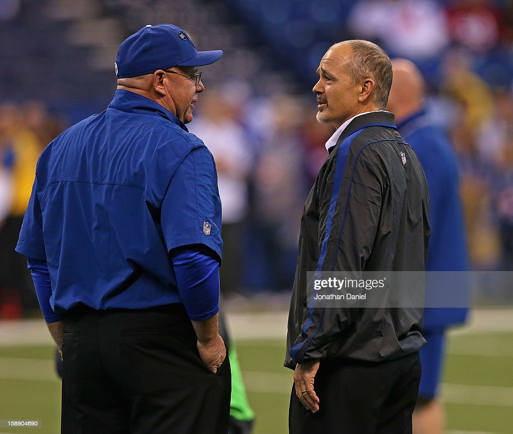 Head coach Chuck Pagano of the Indianapolis Colts (R) talks with offensive coordinator Bruce Arians before a game against the Houston Texans at Lucas Oil Stadium on December 30, 2012 in Indianapolis, Indiana. The Colts defeated the Texans 28-16.