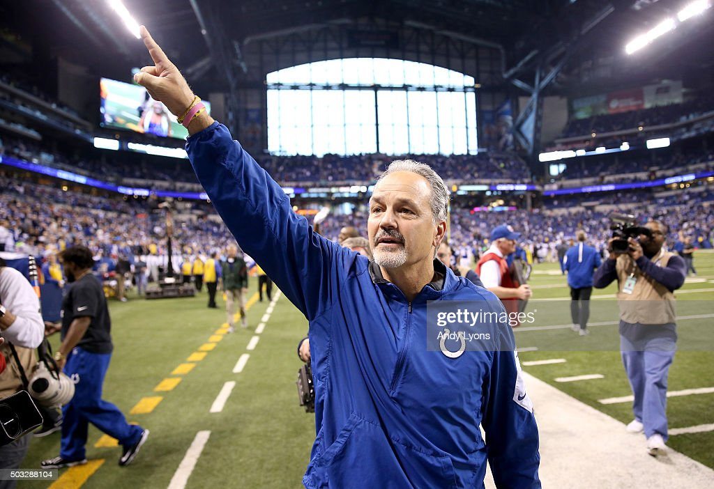 Head coach <a gi-track='captionPersonalityLinkClicked' href=/galleries/search?phrase=Chuck+Pagano&family=editorial&specificpeople=748923 ng-click='$event.stopPropagation()'>Chuck Pagano</a> of the Indianapolis Colts walks off the field after the game against the Tennessee Titans at Lucas Oil Stadium on January 3, 2016 in Indianapolis, Indiana.
