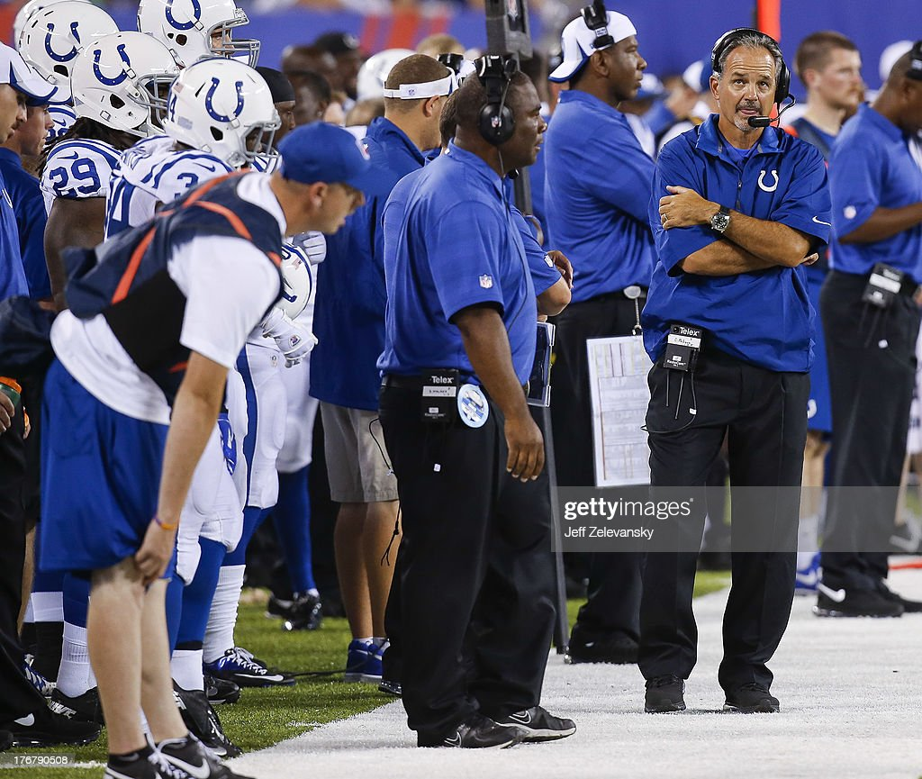 Head coach <a gi-track='captionPersonalityLinkClicked' href=/galleries/search?phrase=Chuck+Pagano&family=editorial&specificpeople=748923 ng-click='$event.stopPropagation()'>Chuck Pagano</a> of the Indianapolis Colts walks the sidelines during their preseason game against the New York Giants at MetLife Stadium on August 18, 2013 in East Rutherford, New Jersey.