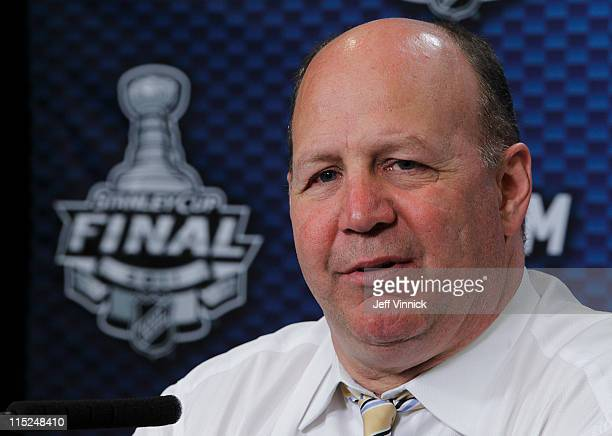 Head coach Claude Julien of the Boston Bruins answers questions during a press conference after Game Two of the 2011 NHL Stanley Cup Finals at Rogers...