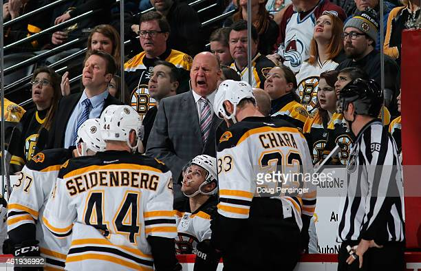 Head coach Claude Julien of the Boston Bruins leads his team against the Colorado Avalanche at Pepsi Center on January 21 2015 in Denver Colorado The...