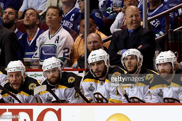 Head coach Claude Julien of the Boston Bruins looks on during Game Five against the Vancouver Canucks in the 2011 NHL Stanley Cup Final at Rogers...