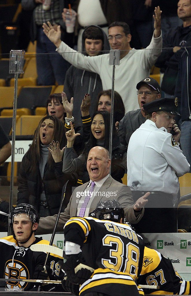 Head coach Claude Julien of the Boston Bruins reacts after he is tossed from the game in third period against the Carolina Hurricanes on October 18, 2011 at TD Garden in Boston, Massachusetts. The Carolina Hurricanes defeated the Boston Bruins 4-1.