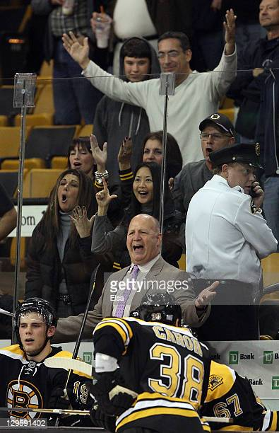 Head coach Claude Julien of the Boston Bruins reacts after he is tossed from the game in third period against the Carolina Hurricanes on October 18...