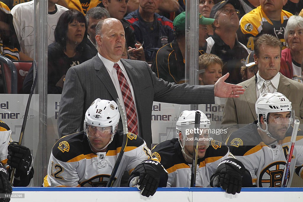 Head coach <a gi-track='captionPersonalityLinkClicked' href=/galleries/search?phrase=Claude+Julien&family=editorial&specificpeople=582124 ng-click='$event.stopPropagation()'>Claude Julien</a> of the Boston Bruins reacts to a call during first period action against the Florida Panthers on March 15, 2012 at the BankAtlantic Center in Sunrise, Florida. The Panthers defeated the Bruins 6-2.