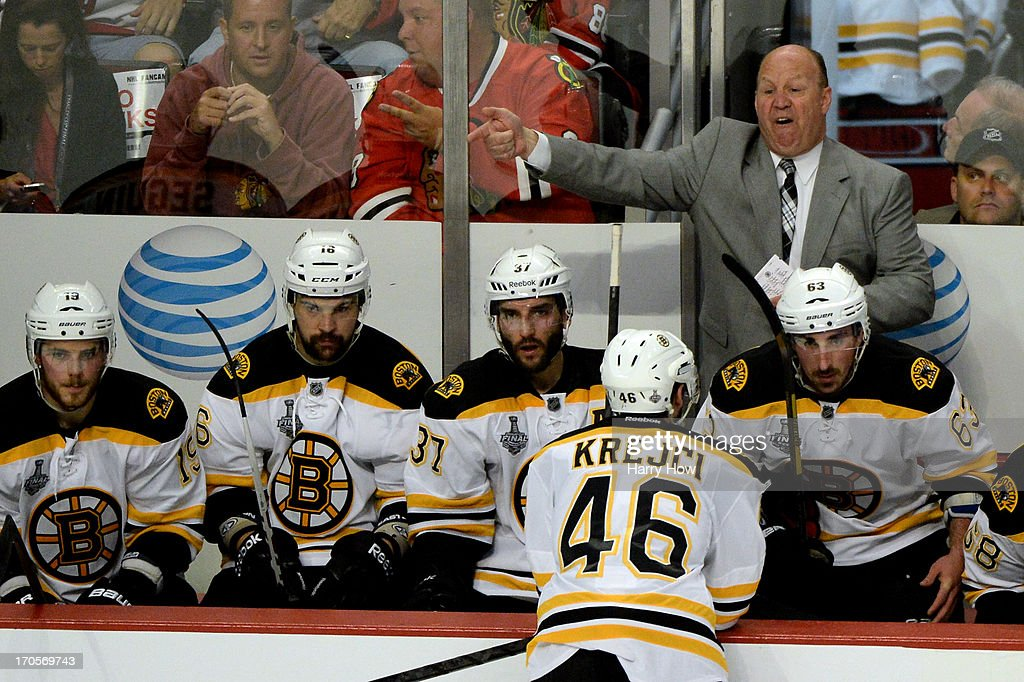 Head coach <a gi-track='captionPersonalityLinkClicked' href=/galleries/search?phrase=Claude+Julien&family=editorial&specificpeople=582124 ng-click='$event.stopPropagation()'>Claude Julien</a> of the Boston Bruins reacts to a penalty called for too many men on the ice in the second period against the Chicago Blackhawks in Game One of the 2013 NHL Stanley Cup Final at United Center on June 12, 2013 in Chicago, Illinois.