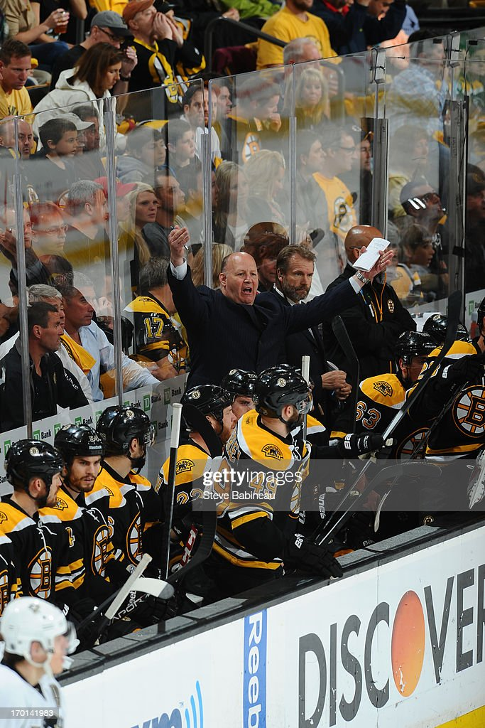 Head Coach <a gi-track='captionPersonalityLinkClicked' href=/galleries/search?phrase=Claude+Julien&family=editorial&specificpeople=582124 ng-click='$event.stopPropagation()'>Claude Julien</a> of the Boston Bruins reacts to a play against the Pittsburgh Penguins in Game Four of the Eastern Conference Final during the 2013 NHL Stanley Cup Playoffs at TD Garden on June 7, 2013 in Boston, Massachusetts.