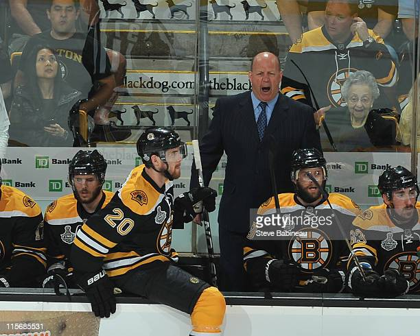 Head Coach Claude Julien of the Boston Bruins shouts at refreree in game against the Vancouver Canucks in Game Four of the 2011 NHL Stanley Cup Final...