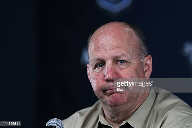 Head coach Claude Julien of the Boston Bruins speaks to the media after they defeated the Tampa Bay Lightning 1 to 0 in Game Seven of the Eastern...