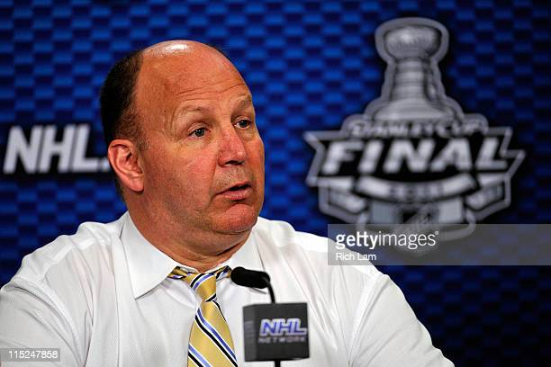 Head Coach Claude Julien of the Boston Bruins speaks to the media after being defeated by the Vancouver Canucks in Game Two of the 2011 NHL Stanley...