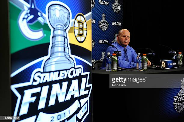 Head coach Claude Julien of the Boston Bruins talks to the media after Game Five of the 2011 NHL Stanley Cup Final at Rogers Arena on June 10 2011 in...