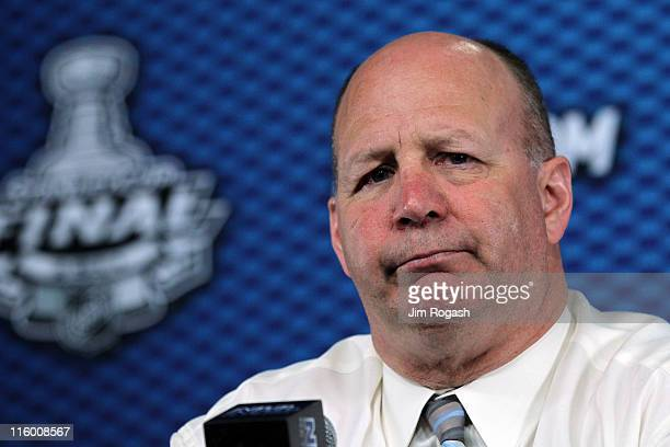 Head coach Claude Julien of the Boston Bruins talks to the media after defeating the Vancouver Canucks in Game Six of the 2011 NHL Stanley Cup Final...