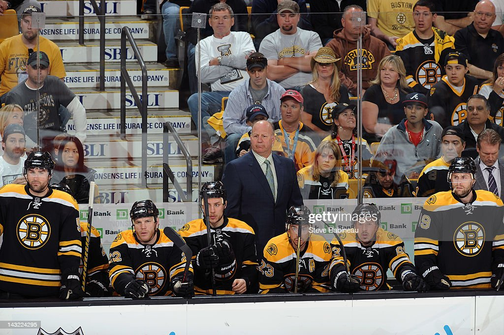 Head Coach <a gi-track='captionPersonalityLinkClicked' href=/galleries/search?phrase=Claude+Julien&family=editorial&specificpeople=582124 ng-click='$event.stopPropagation()'>Claude Julien</a> of the Boston Bruins watches the play against the Washington Capitals in Game Five of the Eastern Conference Quarterfinals during the 2012 NHL Stanley Cup Playoffs at TD Garden on April 21, 2012 in Boston, Massachusetts.