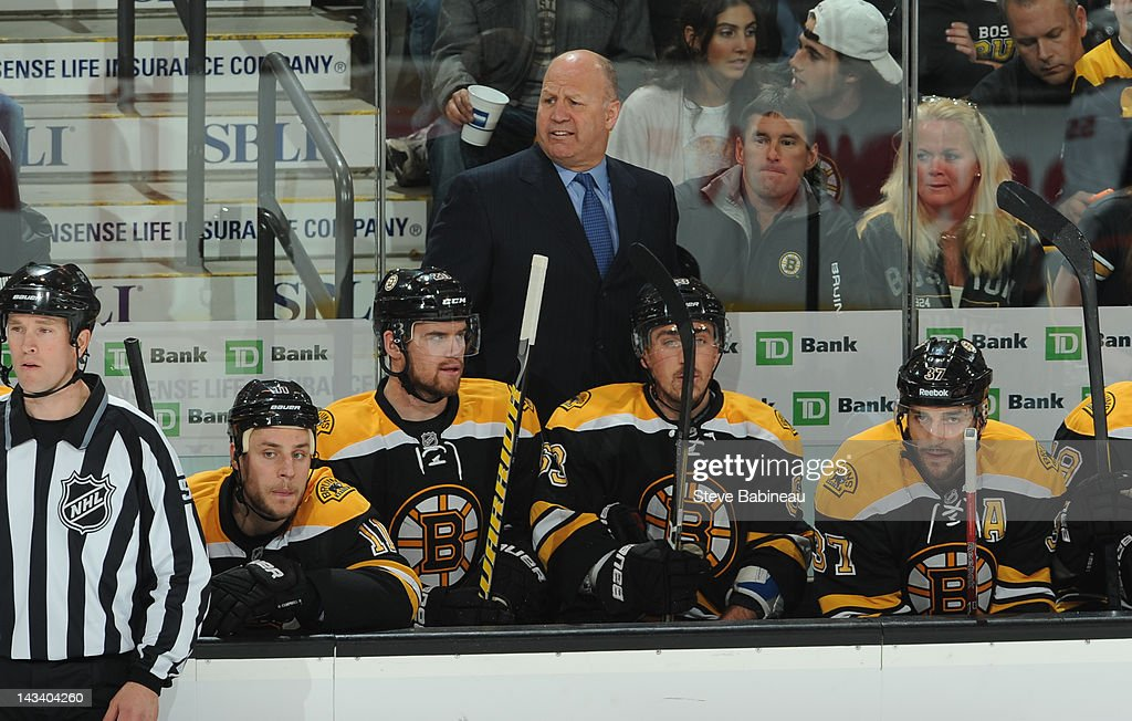Head Coach <a gi-track='captionPersonalityLinkClicked' href=/galleries/search?phrase=Claude+Julien&family=editorial&specificpeople=582124 ng-click='$event.stopPropagation()'>Claude Julien</a> of the Boston Bruins watches the play against the Washington Capitals in Game Seven of the Eastern Conference Quarterfinals during the 2012 NHL Stanley Cup Playoffs at TD Garden on April 25, 2012 in Boston, Massachusetts.
