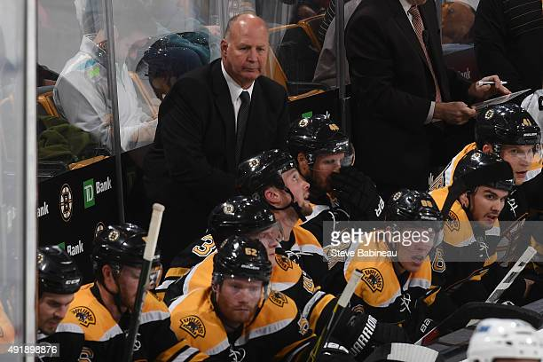 Head coach Claude Julien of the Boston Bruins watches the play against the Winnipeg Jets at the TD Garden on October 8 2015 in Boston Massachusetts