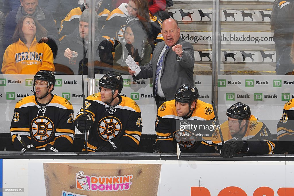 Head Coach <a gi-track='captionPersonalityLinkClicked' href=/galleries/search?phrase=Claude+Julien&family=editorial&specificpeople=582124 ng-click='$event.stopPropagation()'>Claude Julien</a> of the Boston Bruins yells out a play against the Toronto Maple Leafs at the TD Garden on March 7, 2013 in Boston, Massachusetts.