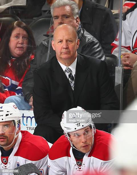 Head Coach Claude Julien of the Montreal Canadiens looks on during the game against the New Jersey Devils at Prudential Center on February 27 2017 in...