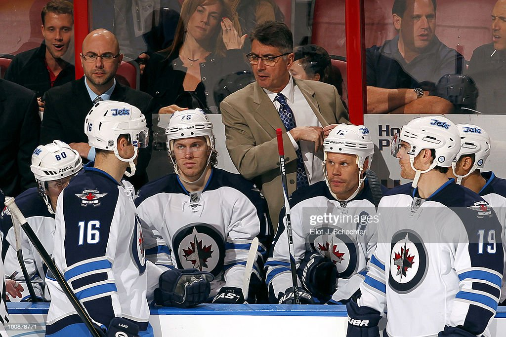 Head Coach Claude Noel of the Winnipeg Jets directs his team during a break in the action against the Florida Panthers at the BB&T Center on January 31, 2013 in Sunrise, Florida.