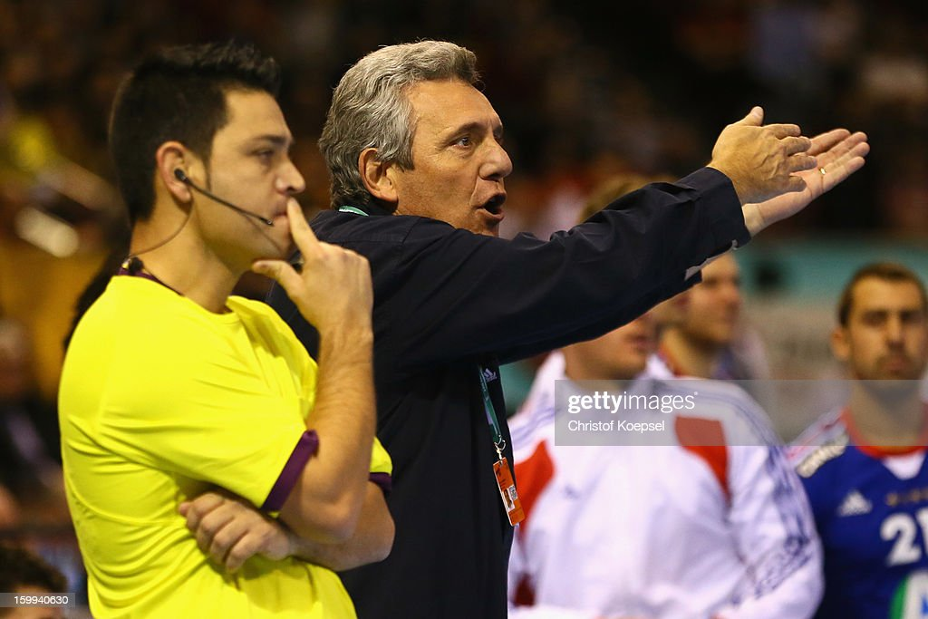 Head coach Claude Onesta of France issues instructions during the quarterfinal match between France and Croatia at Pabellon Principe Felipe Arena on January 23, 2013 in Barcelona, Spain.
