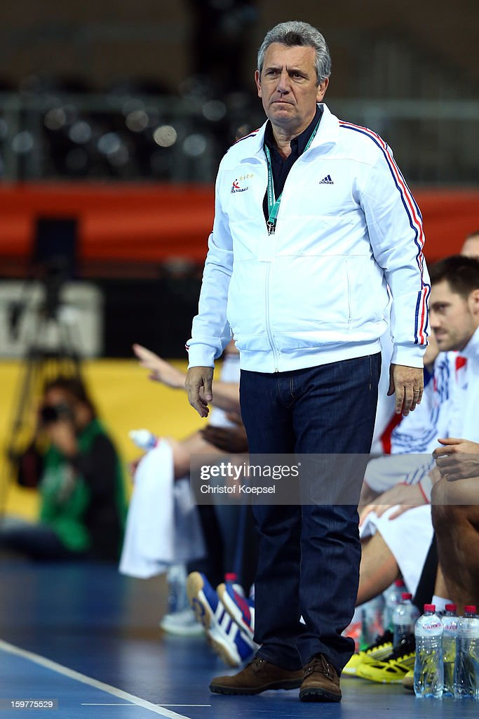 Head coach <a gi-track='captionPersonalityLinkClicked' href=/galleries/search?phrase=Claude+Onesta&family=editorial&specificpeople=792495 ng-click='$event.stopPropagation()'>Claude Onesta</a> of France looks thoughtful during the round of sixteen match between Iceland and France at Palau Sant Jordi on January 20, 2013 in Barcelona, Spain.