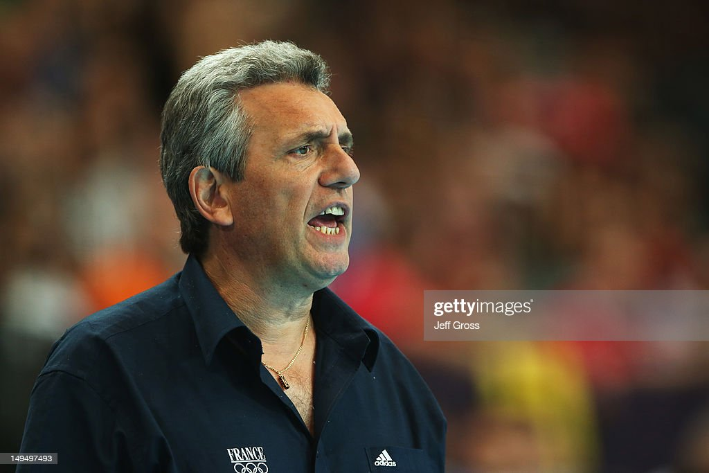 Head coach <a gi-track='captionPersonalityLinkClicked' href=/galleries/search?phrase=Claude+Onesta&family=editorial&specificpeople=792495 ng-click='$event.stopPropagation()'>Claude Onesta</a> of France reacts during the Men's Handball preliminaries group A match between France and Great Britain on Day 2 of the London 2012 Olympic Games at the Copper Box on July 29, 2012 in London, England.