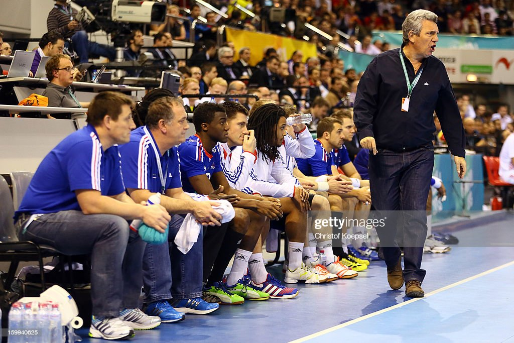 Head coach <a gi-track='captionPersonalityLinkClicked' href=/galleries/search?phrase=Claude+Onesta&family=editorial&specificpeople=792495 ng-click='$event.stopPropagation()'>Claude Onesta</a> of France shouts during the quarterfinal match between France and Croatia at Pabellon Principe Felipe Arena on January 23, 2013 in Barcelona, Spain.