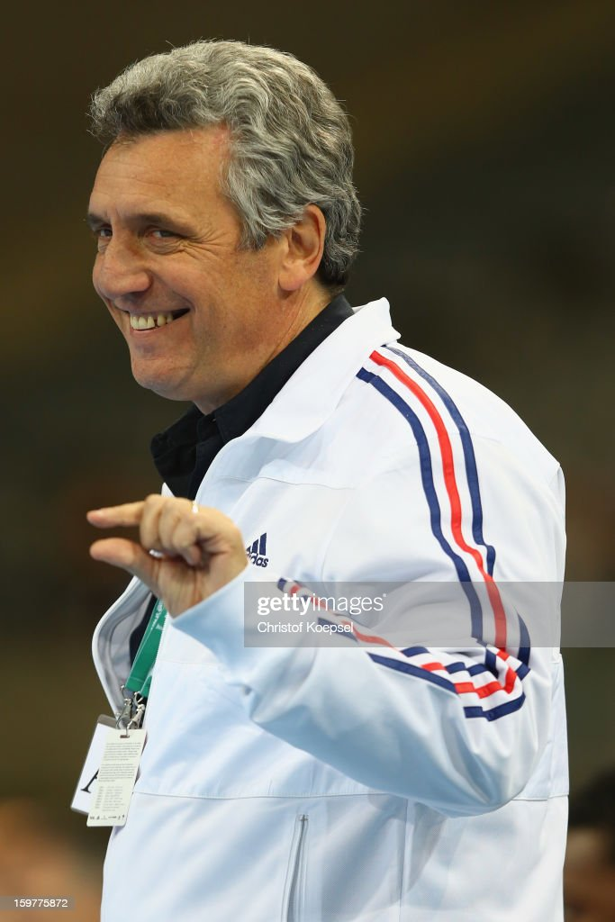 Head coach Claude Onesta of France smiles during the round of sixteen match between Iceland and France at Palau Sant Jordi on January 20, 2013 in Barcelona, Spain.