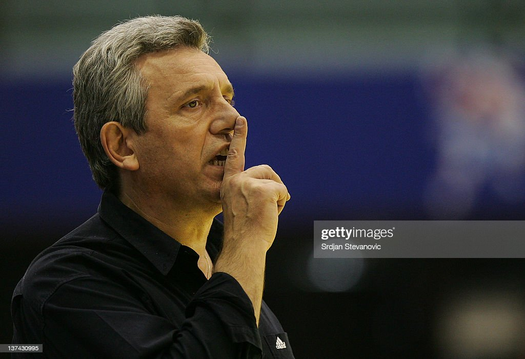 Head coach <a gi-track='captionPersonalityLinkClicked' href=/galleries/search?phrase=Claude+Onesta&family=editorial&specificpeople=792495 ng-click='$event.stopPropagation()'>Claude Onesta</a> reacts during the Men's European Handball Championship 2012 group C match between France and Hungary at Spens Hall on January 20, 2011 in Novi Sad Serbia.