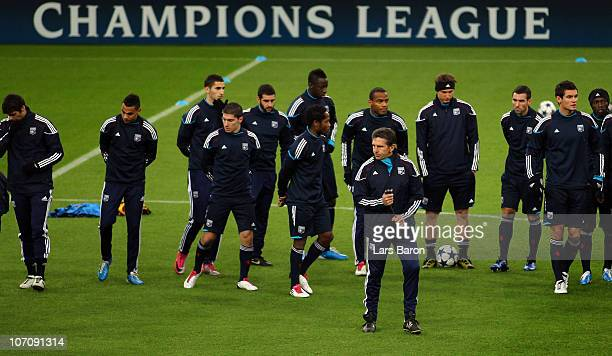Head coach Claude Puel is seen with his players during a Olympique Lyon training session ahead of the UEFA Champions League match against FC Schalke...