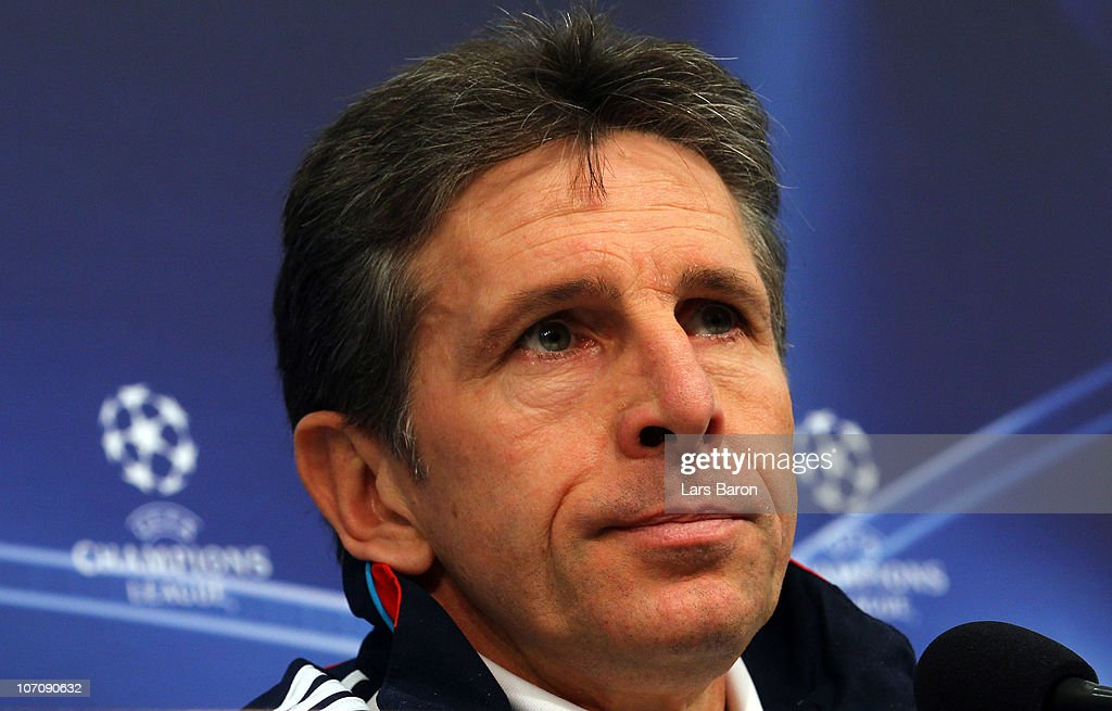 Head coach <a gi-track='captionPersonalityLinkClicked' href=/galleries/search?phrase=Claude+Puel&family=editorial&specificpeople=697176 ng-click='$event.stopPropagation()'>Claude Puel</a> looks on during a Olympique Lyon press conference ahead of the UEFA Champions League match against FC Schalke 04 at Veltins Arena on November 23, 2010 in Gelsenkirchen, Germany.