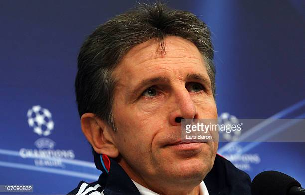 Head coach Claude Puel looks on during a Olympique Lyon press conference ahead of the UEFA Champions League match against FC Schalke 04 at Veltins...